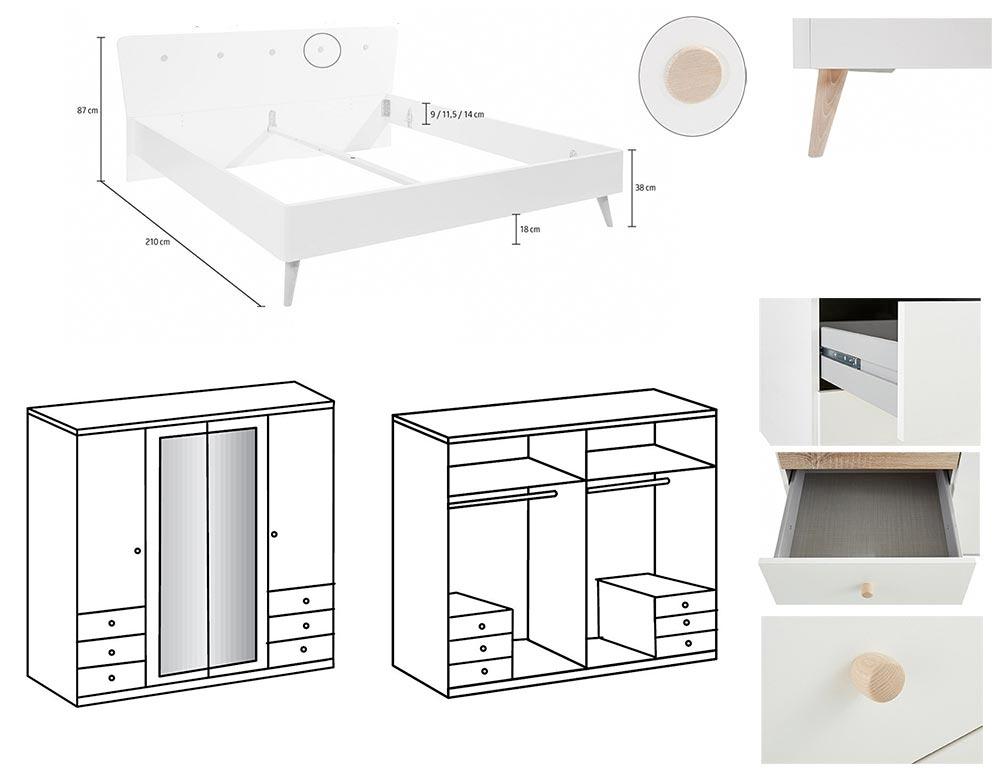 Détail de la chambre à coucher Bergen avec armoire 180 cm