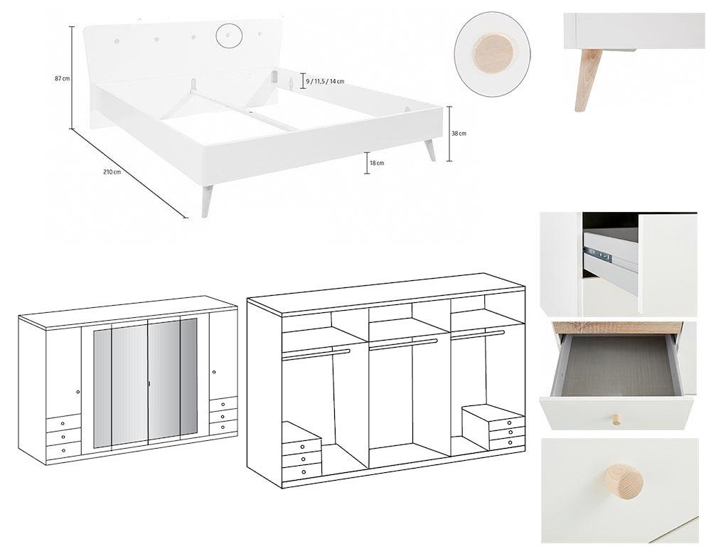 Détail de la chambre à coucher adulte Bergen avec armoire 270 cm