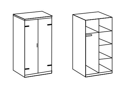 Détail de l'armoire de 2 portes