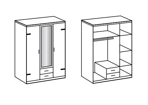 Détail de l'intérieur de l'armoire 3 portes