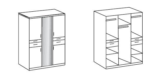 Vue intérieure de l'armoire 5 portes