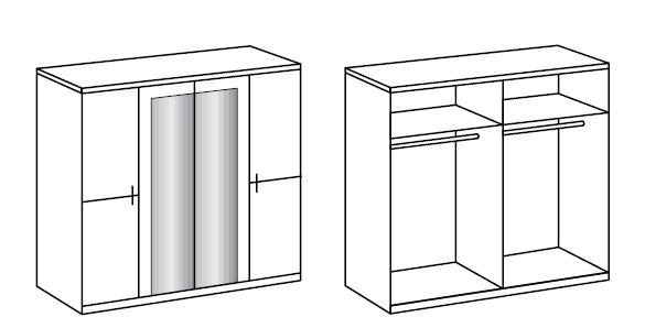 Détail de l'armoire de 4 portes