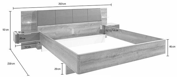 Dimensions détaillées du lit 160x200 cm