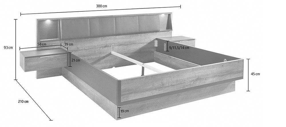 lit 180x200 cm avec chevets int gr s ch ne cbc meubles. Black Bedroom Furniture Sets. Home Design Ideas