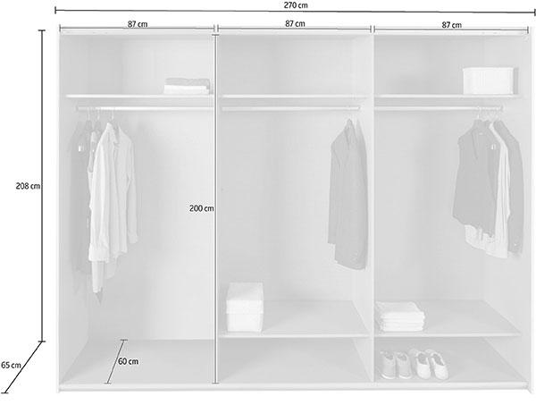 Dimensions détaillées de l'armoire 270 cm
