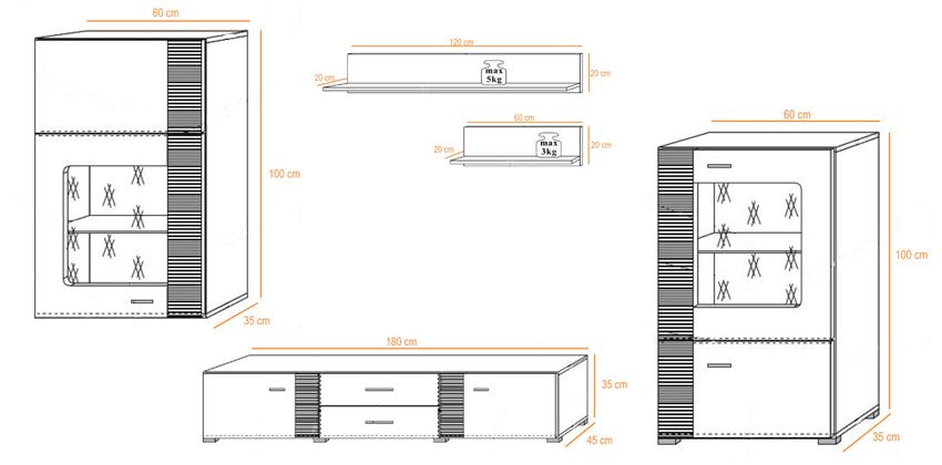 ensemble tv bois et blanc moderne panama cbc meubles. Black Bedroom Furniture Sets. Home Design Ideas