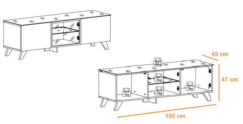 Détail du meuble tv bois scandinave