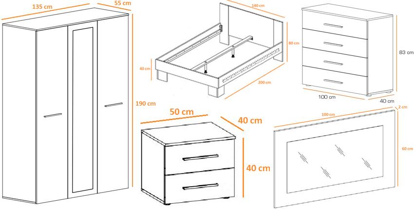 Chambre moderne blanche pas cher wild cbc meubles for Dimension chambre