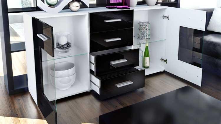meuble buffet blanc 139cm 4 tiroirs 2 portes en verre london cbc meubles. Black Bedroom Furniture Sets. Home Design Ideas