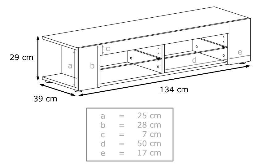 Dimensions du banc tv Mila