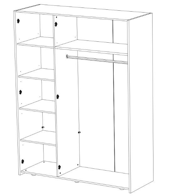 Vue détaillée de l'armoire 3 portes